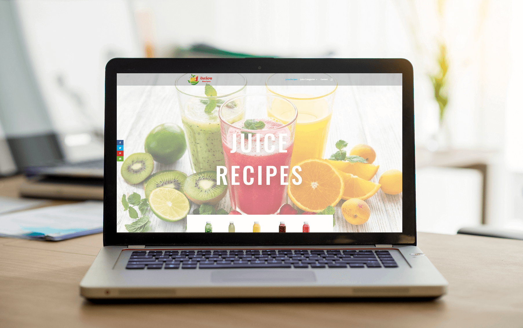Juicerecipes.org on Laptop showing different Juices and Juice Categories